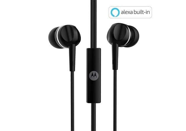 Motorola Pace 100 in-Ear Headphones with Mic & Alexa Built-in(Black) - Best Earphones Under Rs 300