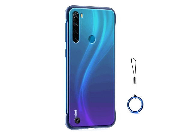 ERIT Frameless Phone Case Translucent Matte Hard PC Slim Cover with TPU Bumper Cases Compatible with Redmi Note 8 (Blue)