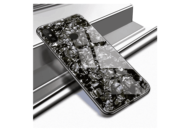 STUDOZ Luxurious Marble Pattern Bling Shell Toughened Glass Back Case with Soft TPU Bumper Back Case Cover for Xiaomi Redmi Note 5 Pro (Black)